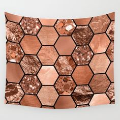 Rose Gold Hexaglam wall tapestry. Rose gold foil and glitter geometric print art.