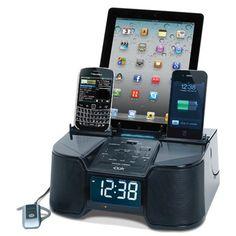 The Six Device Charging Clock Radio - Hammacher Schlemmer