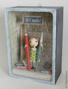 """""""A l'école"""" - Photo de BOITES ET CADRES DISPONIBLES * Available boxes and frames - Tibout de blog"""
