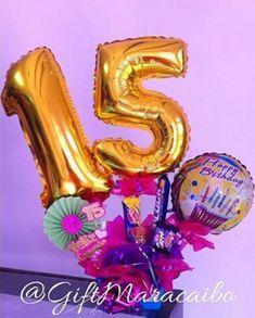 10 ideas de arreglos de 15 años Balloon Decorations, Ideas Para, Balloons, Basket, Outdoor Decor, Gifts, Party Ideas, Candy Arrangements, Surprise Gifts