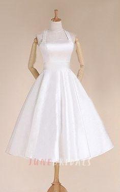 Halter Empire Tea-Length Satin Wedding Dress With Sash And Lace-Up Back  Brudklänningar edc2249455063