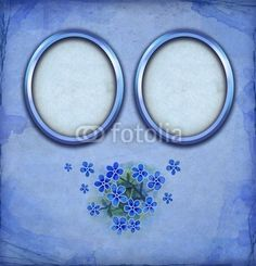 Blue frames with watercolor flowers