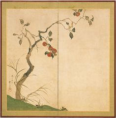 111. 酒井抱一筆 柿図屏風, The Persimmon Tree - Sakai Hōitsu - Edo period (1816)