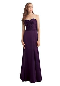 Satin strapless gown with a sweetheart neckline.  Vertical pleats embellish the…