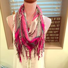 Plaid Fringe Scarf This is a super cute plaid fringe scarf! This scarf would be great for layering and is very lightweight! Journeys Accessories Scarves & Wraps