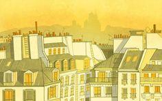 Paris Montmartre roofs of Paris illustration home decor Paris Illustration, Fine Art, Prints, Painting, Garden, Shop, Etsy, Decor, Decoration