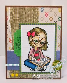 """Reading Tia"" digital stamp, ""Bliss"" clear stamp set. Papers by American Crafts/Amy Tangerine."