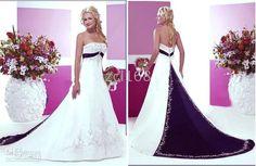 White/Ivory Wedding Dresses Bridal Gown Color(Purple, Navy-Blue, Red, Blue, Black, Dark Navy-Blue).