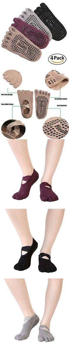 Yoga Socks Pack, Non-Slip Grips 5 Toe Socks non skid for Barre Pilates Exercise Womens Mens Cotton Warm Lace-Up Socks 4 Pack #yogasocks