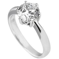 Diamonfire Silver Medium Round Clear CZ 6 Claw Ring 61-1489-1-082