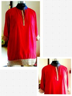 Red pure cotton silk knee-length kurta with gold border and blue brocade collar-neck.  Can be customized in any color. To book your order/any query, contact us: call/whatsapp on +91 9833617147.  Like us? Follow us! https://m.facebook.com/VastranDecorbySoumiyaKhanna  #Fashion #fashionista #fashionblogger #bollywoodfashion #indian #bollywood #stylediva #diva #pretty #boutique #designer #clothing #clothingline #clothingbrand #womenswear #womensbrand #womensfashion #garments #clothes