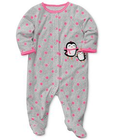 PENGUINS Carter\'s Baby Coverall, Baby Girls Polyester Microfleece Sleep \'N\' Play - Kids Baby Girl (0-24 months) - Macy\'s