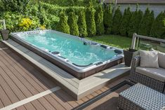 Want to get a new hot tub or need new pool supplies? The Spa Shoppe is your one stop store in the Durham area! Hot Tub Deck, Hot Tub Backyard, Swimming Pools Backyard, Swimming Spa, Lap Pools, Indoor Pools, Pool Decks, Pool Landscaping, Pool Spa