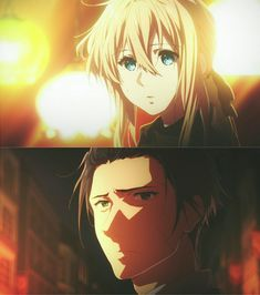 She looks so clueless but he looks so sad *cries* Violet Evergarden Gilbert, Violet Evergreen, Violet Evergarden Anime, Violet Garden, Princess Jellyfish, Anime Group, Kyoto Animation, Some Beautiful Pictures, Couple Illustration
