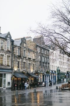 Edinburgh, Scotland on a cold wet morning.
