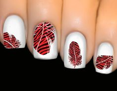 Nail Decals - Colorful Beautiful Water Transfer Stickers 3D Nail Art Tips  Feather Decals Animal Print Tiger 037b20c0c6fe