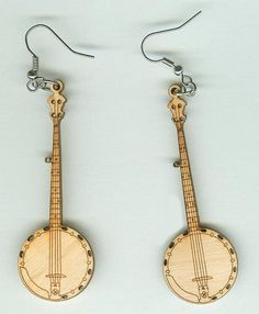 FREE SHIPPING - Banjo Earrings - Laser Cut Wood (ER-004)