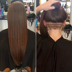 The undercut hairstyle - for women with long, medium & short hair styles for growing out curls, hidden nape side cuts, shaved bobs w/ funky designs, braids & bangs. Undercut Hairstyles, Cool Hairstyles, Hair Undercut, Undercut Hair Designs, Hair Cutting Techniques, Natural Hair Styles, Short Hair Styles, Shaved Hair Designs, Edgy Hair