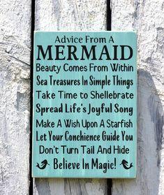 Advice From A Mermaid -Beach Decor - Beach Sign - Beach House Wall Art - Nautical Decor - Mermaid Sign - The Sign Shoppe Mermaid Sign, Mermaid Wall Art, Mermaid Bathroom, Mermaid Room, Mermaid Beach, Bathroom Wall Art, Anchor Bathroom, Coral Bathroom, Mermaid Quotes