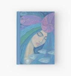 """""""The Pearl, Mermaid Princess, underwater fantasy art"""" Hardcover Journals by clipsocallipso 