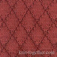 Diamonds Pattern 1 with needles, Knitting Patterns Chart, Squares, Diamonds, Basket Stitch Patterns Knit Purl Stitches, Knitting Stiches, Cable Knitting, Crochet Stitches Patterns, Lace Patterns, Knitting Patterns Free, Stitch Patterns, Knitting Room, How To Purl Knit