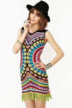 wonder if this could be done with lace insertion and fabric???  Psychedelic Crochet Dress. Maybe a circular table cloth?