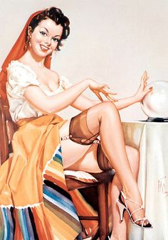I see plenty of curves ahead in your future! :) #vintage #pinup #girl #art #fortune_teller