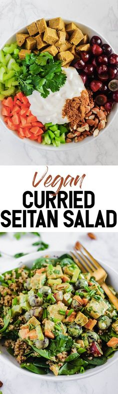 This creamy Curried Seitan Salad requires no cooking and is a refreshing meal to help you cool off this summer! It's full of crunchy vegetables, protein-packed seitan and sweet grapes. Best Vegetarian Recipes, Vegan Recipes Easy, Seitan, Tempeh, Vegan Curry, Vegan Appetizers, Salad Ingredients, Healthy Salad Recipes, Mayonnaise