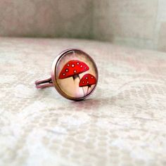 Red Toadstool Alice in Wonderland Woodland Ring by theglowtree, $18.00