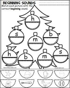 Free Christmas cut and paste beginning sounds activity for the letters 'm', 's', 'h', 'b'.: