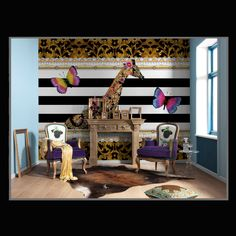 The Komar Mellimello Giraffe Wall Mural offers an engaging fusion of modern and vintage flair. It boasts a complexly decorated giraffe with a duo of. Disney Stars, Fotos Wallpaper, Wallpaper Decor, Brick Images, Flower Mural, Memory Wall, Modern Decor, Wall Murals, Photos