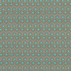 Tissu jacquard polygone bleu turquoise
