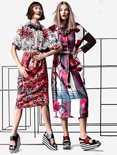 Abstract floral print: Suvi Koponen, and Sam Rollinson by Craig McDean for Vogue US March 2014.