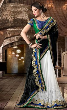 Beatiful Black and Off White Saree With Blouse