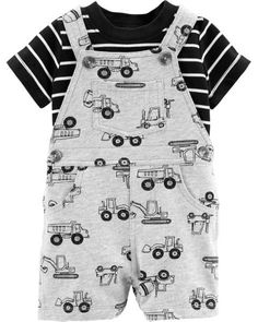 Carter's Baby Boys Cotton Striped T-Shirt & Truck-Print Shortalls Set - Multi 24 months Baby Boy Clothes Hipster, Kids Clothes Boys, Cute Baby Clothes, Carters Baby Clothes, Man Clothes, Toddler Outfits, Baby Boy Outfits, Kids Outfits, Newborn Outfits