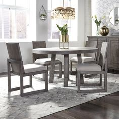 Modern Farmhouse Round Table 5 Piece Dining Set in Dusty Charcoal Finish by Liberty Furniture - Farmhouse Round Dining Table, Round Dining Table Modern, Round Table And Chairs, Solid Wood Dining Set, Kitchen Dining Sets, 5 Piece Dining Set, Dining Room Bar, Table And Chair Sets, Side Chairs