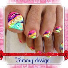 Neon contemporary nail design
