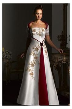 Bohemian Wedding Dress - Love This red and white wedding dress with gold accents.