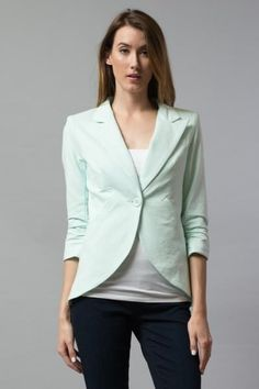 262db91cb0 Esley> Outwear> 7384JAK Ruched Sleeve Blazer a single buttoned front with  notched lapel and ruched sleeves usfashionstreet.com