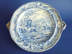 Rare Spode Indian Sporting Series 'Death of the Bear' Warming Dish c1815