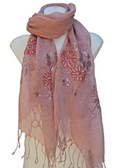 d4a2e7748 Terra Nomad Women's 100% Linen Scarf Shawl Shoulder Wrap - Rose Review. Fashion  ScarvesScarf ...