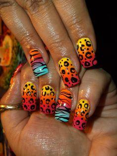 Ombre funky animal print nail art design :)