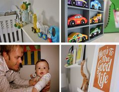 Bold primary colors in this baby boy nursery. Full post on www.the-moments.com