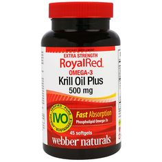 Webber Naturals, RoyalRed Omega-3 Krill Oil Plus, Extra Strength, 500 mg, 45 Softgels