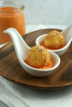 Fried Mozzarella Balls and Red Pepper Sauce