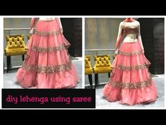 DIY:how to make Lehenga in 10 minutes(hindi) Little Girl Pageant Dresses, Girls Dresses Sewing, Frocks For Girls, Dress Sewing Patterns, Fancy Dress Design, Stylish Dress Designs, Frock Design, Gown Party Wear, Party Wear Lehenga