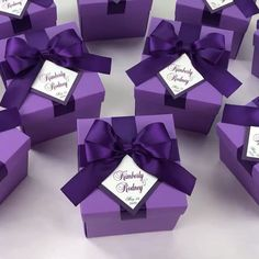 Purple Wedding favor box with satin ribbon bow and custom names, Elegant Personalized Wedding Party Favor Boxes with tag for guests Purple Wedding Favors, Wedding Cake Boxes, Wedding Candy Table, Wedding After Party, Handmade Wedding Favours, Wedding Gifts For Guests, Personalized Wedding Favors, Card Box Wedding, Wedding Party Favors