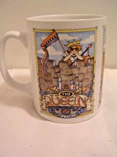 Mary Engelbreit Mug Cup The Queen of Everything Ceramic Checked Handle 12 Ounces  | eBay