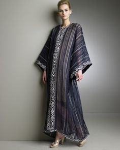 """caftan pattern with pretty 2"""" brocade trim Measure from the nape of your neck down to the desired length: purchase twice this amount of 45″ [114cm] wide fashion fabric and four and a half times this amount of 2″ [50mm] wide flat braid trim . (cutaways will be used to make sleeves, caftan will be 35"""" wide when finished)"""