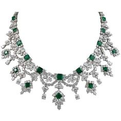 Harry Winston Emerald Diamond Necklace ❤ liked on Polyvore featuring jewelry, necklaces, diamond jewellery, emerald diamond necklace, harry winston, emerald jewelry and diamond jewelry